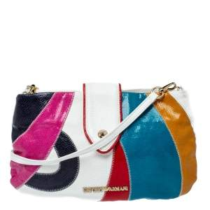 Emporio Armani Multicolor and Snakeskin Effect Leather Flap Crossbody Bag