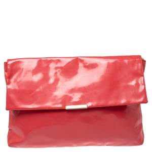 Emporio Armani Coral Pink Patent Leather Flap Oversized Clutch