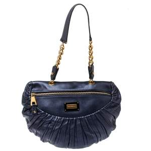 Emporio Armani Indigo Pleated Leather Chain Hobo