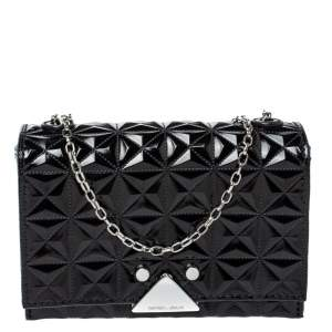 Emporio Armani Black Quilted Leather Flap Chain Shoulder Bag