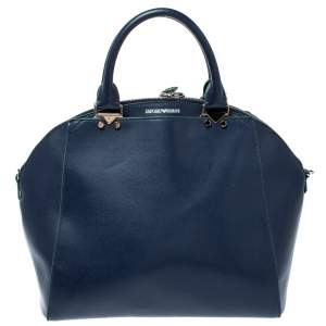 Emporio Armani Blue Leather Dome Satchel
