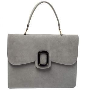 Emporio Armani Grey Nubuck Leather Flap Top Handle Bag