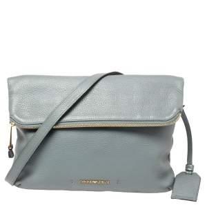Emporio Armani Ash Blue Leather Zip Flap Convertible Shoulder Bag