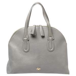 Emporio Armani Grey Leather Dome Satchel