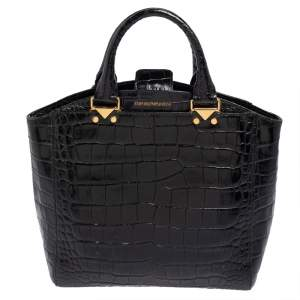 Emporio Armani Black Croc Embossed Leather Satchel