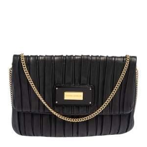 Emporio Armani Black Leather Pleated Crossbody Bag