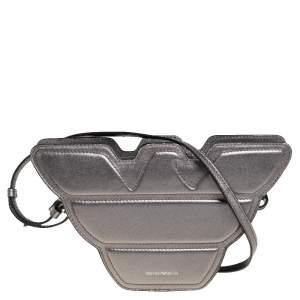 Emporio Armani Metallic Grey Leather Structured Logo Crossbody Bag