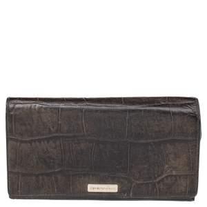 Emporio Armani Black Croc Embossed Leather Flap Wallet