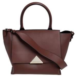 Emporio Armani Brown Leather Flap Top Handle Bag