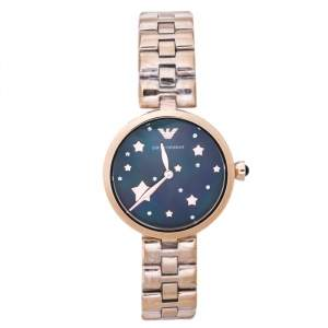 Emporio Armani  Black Mother Of Pearl Rose Gold Tone Stainless Steel Arianna AR11197 Women's Wristwatch 32 mm