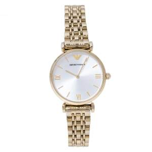 Emporio Armani Silver Yellow Gold Tone Stainless Steel Classic AR1877 Women's Wristwatch 32 mm