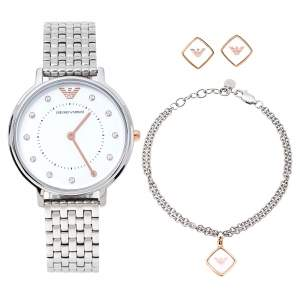 Emporio Armani White Stainless Steel Two-Hand AR80023 Wristwatch 32 mm Set With Earrings And Bracelet