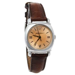 ساعة يد نسائية أمبوريو أرماني يه أر0277 جلد وستانلس ستيل بنية 29 مم