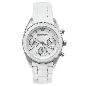 Emporio Armani White Stainless Steel Rubber Sportivo AR5941 Women's Wristwatch 35 mm