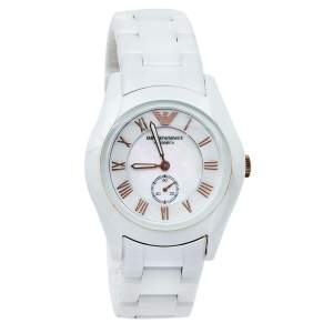 Emporio Armani Mother Of Pearl Ceramic Classic AR1418 Women's Wristwatch 35 mm