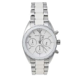 Emporio Armani White Stainless Steel Sportivo Chrono AR5940 Women's Wristwatch 38 mm