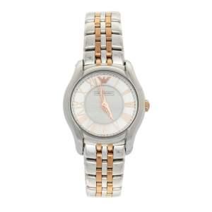Emporio Armani Silver Two-Tone Stainless Steel AR1825 Women's Wristwatch 27 mm