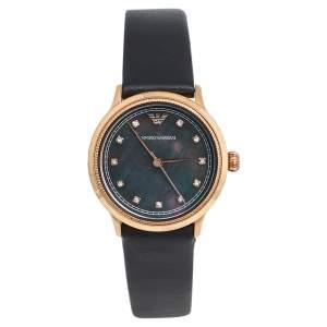ساعة يد نسائية إمبوريو أرماني كلاسيك AR1802 صدف جلد ستانليس ستيل مطلي ذهب وردي سوداء 27 مم