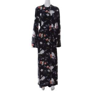 Equipment Britten Navy Blue Floral Printed Silk Belted Maxi Dress L