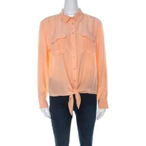 Equipment Pastel Orange Silk Long Sleeve Button Down Shirt S