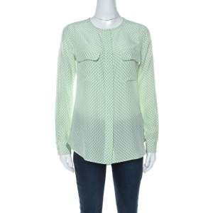 Equipment Light Green and Ivory Raindrop Print Silk Button Front Shirt XS