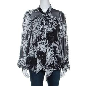 Equipment Grey Printed Silk Cleone Shirt M
