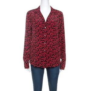 Equipment Black and Red Heart Printed Silk Shirt M