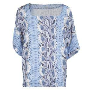Ermanno Scervino Blue Python Print Silk Short Sleeve Top M
