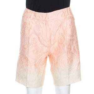 Ermanno Scervino Peach Jacquard Cotton Silk Ombre Bermuda Shorts S