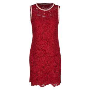 Ermanno Scervino Red Floral Lace Contrast Trim Sleeveless Dress S