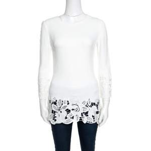 Ermanno Scervino Off White Floral Lace Trim Detail Long Sleeve Top S