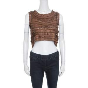 Ermanno Scervino Brown Leather Cutout Detail Fringed Top S