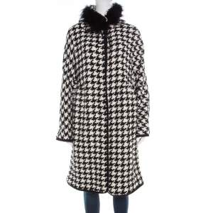Ermanno Scervino Monochrome Houndstooth Pattern Knit Fox Fur Collar Coat L
