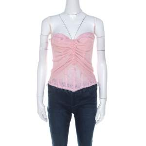 Ermanno Scervino Pink Pleated Silk Frayed Detail Ruffled Corset Top M
