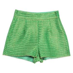 Ermano Scervino Green and Gold Chevron Knit Woven Shorts S