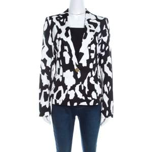 Escada Monochrome Abstract Printed Cotton Bariska Blazer M