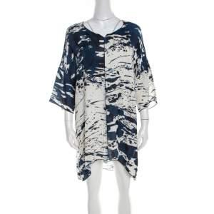 Escada Blue Fantasy Print Silk Asymmetric Hem Oversized Nurdan Tunic M