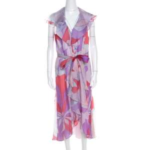 Escada Multicolor Abstract Print Silk Ruffled Sleeveless Dress L