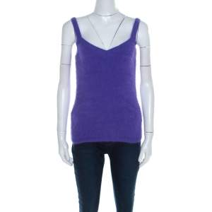 Escada Purple Angora Rib Knit Silk Lined Fuzzy Tank Top M