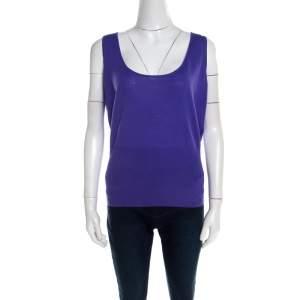 Escada Purple Rib Knit Wool Scoop Neck Tank Top L
