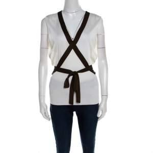 Escada Cream Knit Contrast Tie Up Trim Sleeveless Top L