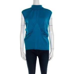 Escada Turquoise Blue Silk Wool Turtleneck Sleeveless Top L