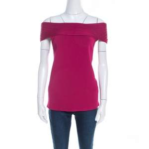 Escada Magenta Pink Rib Knit Off Shoulder Sleeveless Top M