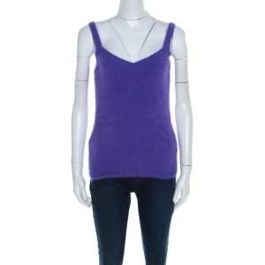 Escada Purple Angora Rib Knit Silk Lined Fuzzy Tank Top L