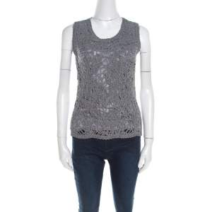 Escada Flannel Grey Wool Cord Embroidered Sleeveless Schulamit Top S