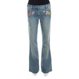 Escada Indigo Faded Effect Denim Embellished Flared Hose Jeans M