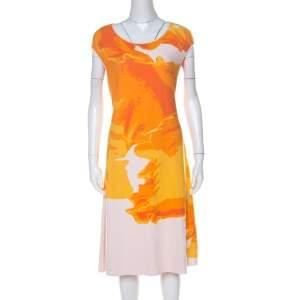 Escada Sunset Orange Fantasy Print Pique Knit Shaleesa A Line Dress L