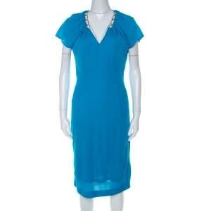 Escada Lagoon Blue Textured Knit Gold Chain Detail Sheath Dress M