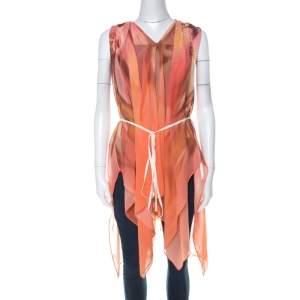 Escada Multicolor Fantasy Print Silk Handkerchief Hem Belted Nilou Blouse M
