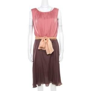 Escada Colorblock Silk Belted Sleveeless Denise Dress M